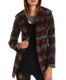 Hooded Aztec Wrap Coat Charlot..