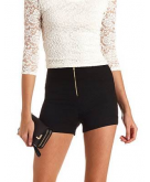 Ruched Zip-Up High-Waisted Sho..