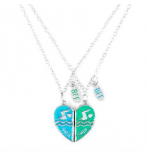 Best Friends Half Hearts Swim Pendant Necklaces Claires