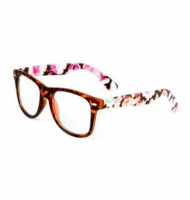 Retro Matte Tortoise Shell Frames with Floral Print Arms Claires