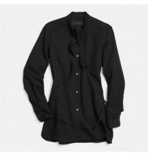 Cotton Tie Collar Shirt Coach