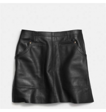 LEATHER WORKWEAR SKIRT Coach