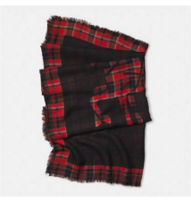PLAID HORSE AND CARRIAGE OVERSIZED SCARF Coach