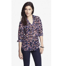 ROSE PRINT CONVERTIBLE SLEEVE PORTOFINO SHIRT Express