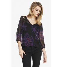 LACE YOKE AND PAISLEY CHIFFON BLOUSON TOP Express