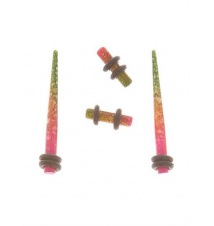 Morbid Metals Pink And Green Watercolor Micro Taper And Plug 4 Pack Hot Topic