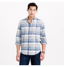 Slim chamois elbow-patch shirt in heather granite plaid J Crew