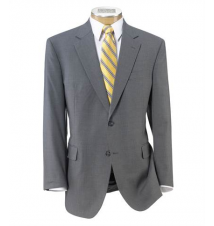 Executive 2-Button Wool Suit with Plain Front Trousers - Light Grey Self Stripe JoS. A. Bank