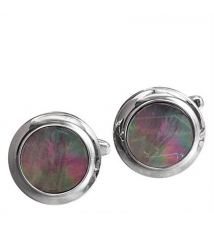 Round With Gray Stone Cufflinks Johnston & Murphy