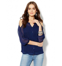 Shimmer Clip-Dot Cold-Shoulder Blouse New York & Company
