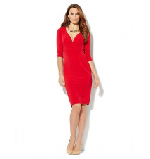 Solid Faux Wrap-Front Jersey Dress New York & Company