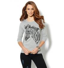 Waverly Crewneck Sweater - Sequin Zebra New York & Company