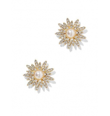 Pave & Faux-Pearl Floral Post Earring New York & Company