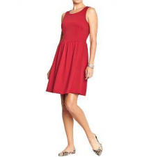 Women's Fit & Flare Ponte Tank Dresses Old Navy