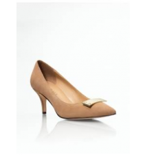 Meade Suede Gold Plaque-Topped Pumps Talbots