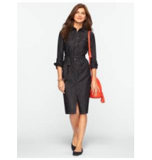 Ebony Wash Denim Shirtdress Talbots