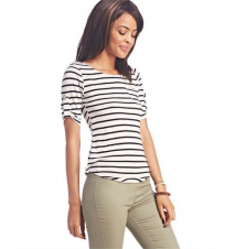 Must-Have Striped Tab-Sleeve Top The Wet Seal