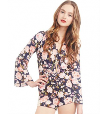 Floral Bell Sleeve Romper The Wet Seal