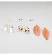 FULL TILT 6 Pairs Feather/Bead Earrings Tilly's