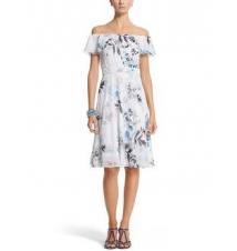 Floral Over-The-Shoulder Fit & Flare Dress White House/Black Market