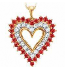Created ruby and white sapphire pendant Sears