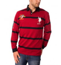 Long-Sleeve Rugby Stripe Polo Shirt
