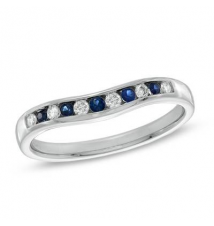 Sapphire and 1/10 CT. T.W. Diamond Contour Band in 14K White Gold Zales