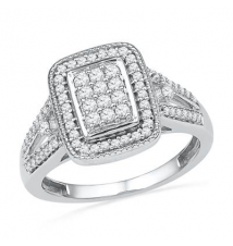 1/2 CT. T.W. Diamond Rectangular Cluster Frame Ring in 10K White Gold Zales