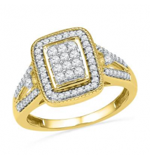 1/2 CT. T.W. Diamond Rectangular Cluster Frame Ring in 10K Gold Zales
