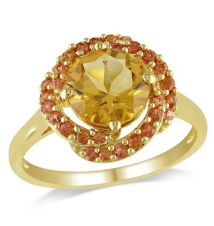 8.0mm Citrine and Orange Sapphire Flower Ring in Yellow Rhodium Plated Sterling Silver Zales