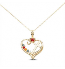 10K Gold Cross in Heart Family Birthstone Pendant (8 Stones) Zales