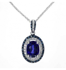 EFFY Collection Oval Ceylon Sapphire and 1/3 CT. T.W. Enhanced Blue and White Diamond Pendant in 14K White Gold Zales