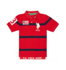 Boys Big Logo Striped Polo Shirt
