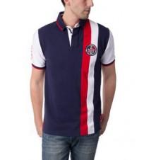 Vertical Stripe Patch Logo Polo Shirt