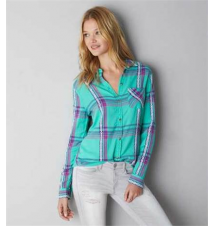 AEO Jaquard Plaid Shirt American Eagle