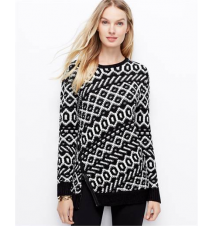 Graphic Zip Sweater Ann Taylor