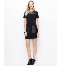 Faux Leather Pocket Dress Ann Taylor