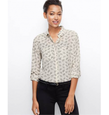 Camel Print Silk Camp Shirt Ann Taylor