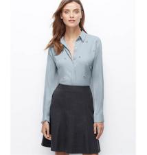 Petite Crepe Embellished Shirt Ann Taylor