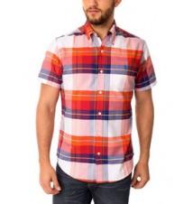 Slim Fit Short Sleeve Large Plaid Oxford Shirt