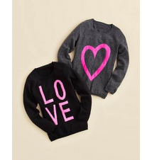 AQUA Girls' Heart & Love Intarsia Pullovers - Sizes S-XL Bloomingdale's