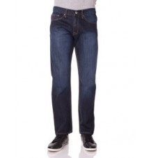 Slim Straight Fit Logo Pocket Jean, DARK WASH