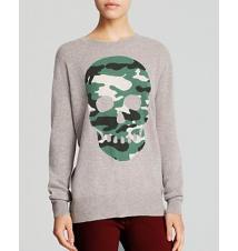 AQUA Cashmere Sweater - Camo Skull Bloomingdale's