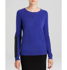 C by Bloomingdale's Leather Panel Cashmere Sweater Bloomingdale's