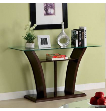 Janna Open-Shelf Contemporary Glass-Top Sofa Table Brookstone