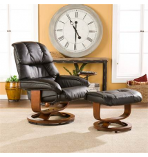 Leather Headrest Recliner with Ottoman and Side Table Brookstone