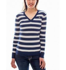 Cable Knit Striped Sweater