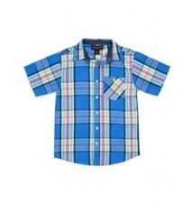 Boys Short Sleeve Plaid Shirt