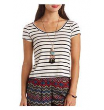 Cross-Back Striped Crop Top Charlotte Russe