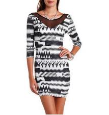 Glitter Geo Print & Mesh Bodycon Dress Charlotte Russe